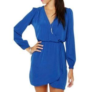 Honey Punch cobalt blue wrap dress - size S